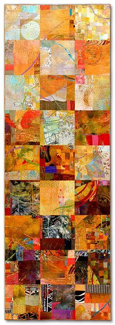 """Sue Benner:    WALKING THROUGH TIME II  (GOLD ON GOLD)   ______________________________  2006- 88.25""""x 29.5""""   dye and paint on fabric (silk, cotton, polyester, commercial and found fabrics), fused,   mono-printed, machine quilted"""