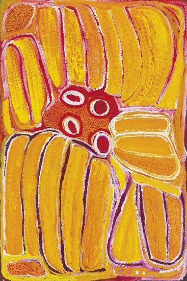 Eubena Nampitjin  Kinyu  2002  Synthetic polymer paint on linen  150 x 100 cm  $22,000 AUD