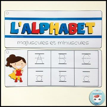 French Alphabet Centers - writing practice strips: tracing uppercase and lowercase letters in alphabetical order. Centres de littératie - l'alphabet.