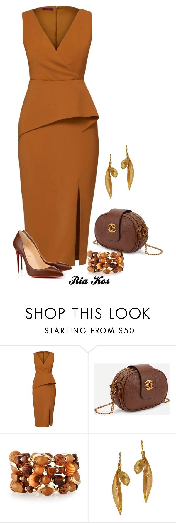 """""""beautiful dress"""" by ria-kos ❤ liked on Polyvore featuring WtR, Christian Louboutin, Emily & Ashley and Vassiliki"""