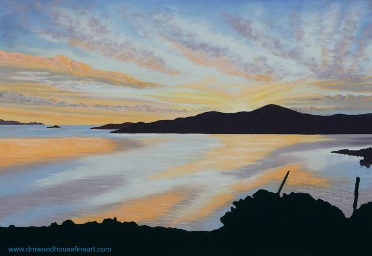 """Sunset Over Midwick, Shetland"".  Medium: Unison Soft Pastels, Materials: Fisher 400 Art Pastel Paper 360 gsm Dimension: External Mounted 18 x 24 inches To buy as Original Painting, Giclee Print or Greeting Card please visit my website at www.dmwoodhousefineart.com"
