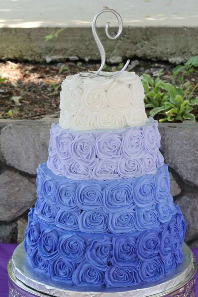 Ombre Rosette Wedding Cake | Pixie Cakes 4 Tiered, Purple ...