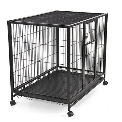 "List Price: $299.95 Price: $139.95 You Save: $160.00 (53%) 43"" Heavy Duty Metal Dog Cage Kennel w Wheels Portable Pet Puppy Carrier Crate"