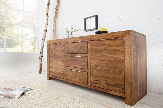 Massives Design Sideboard PURE Sheesham Holz stone finish 140cm einmalige Maserung  --   Riess-Ambiente.de