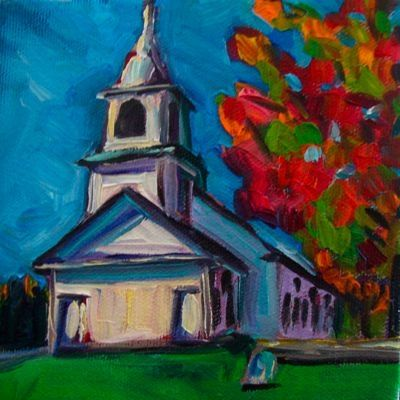 Fall Glow At The Spurwink Church 5x5 Oil On Canvas 75