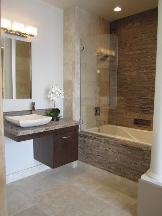 I totally think we could do this type of tub/shower combo in our master bath.