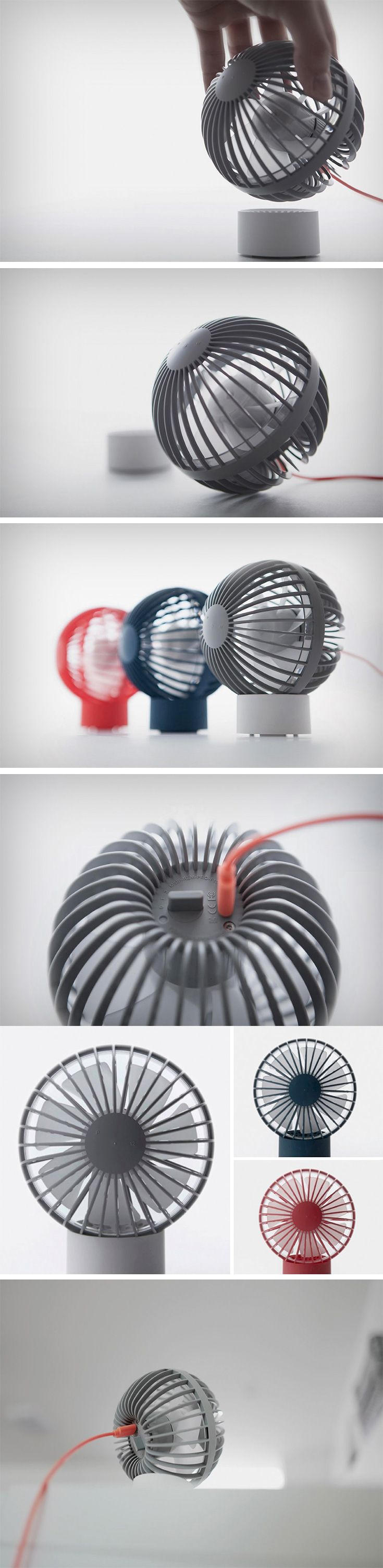 The O-Fan (named aptly) powers itself via MicroUSB and instead of looking like a fan on the end of a USB stick, looks more traditional, with a dash of fresh  and quirky. The entire fan fits right into a spherical housing that sits independently, or can be placed on a cylindrical stand to give it the appearance of a  standing fan. The sphere resting in the cylinder can be rotated and faced in any which direction.
