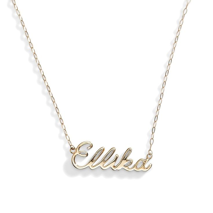 300 14k gold name necklace bar necklace script name necklace 14k gold