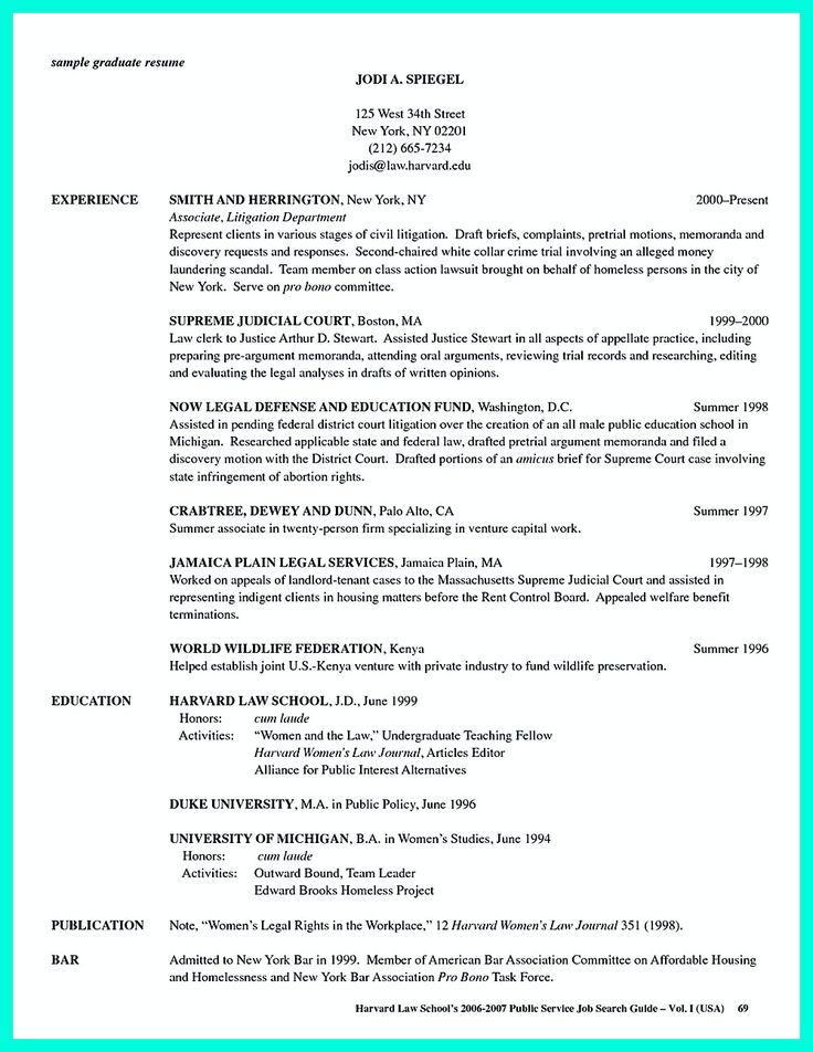 Graduate School Resume Guidelines Examples Templates Application Samples  Grad .  Sample Law School Resume