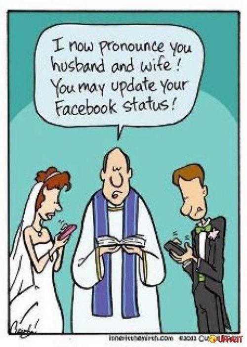 Vignetta divertente Vi dichiaro marito e moglie. Potete aggiornare il vostro profilo Facebook