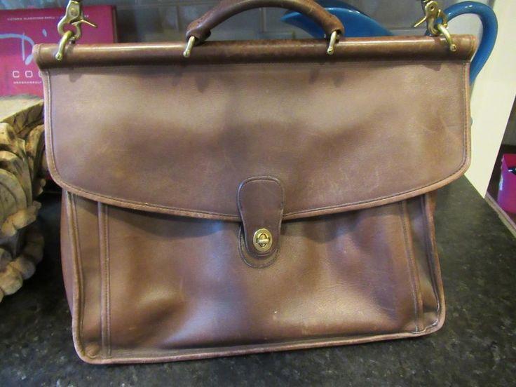 Coach Brown Vintage Leather Briefcase Computer Laptop Work Shoulder Bag  #Coach #LaptopCase