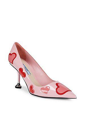8894829f01a9 PRADA LEATHER HEART PUMP KITTEN HEELS.  prada  shoes
