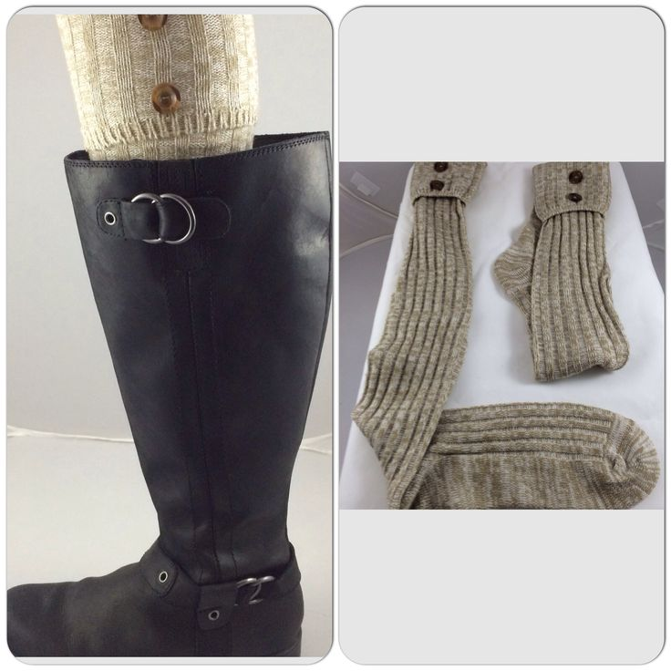 $16.99 Fold Over Cuff with Buttons Boot Socks item #44282. Available in  Wheat,