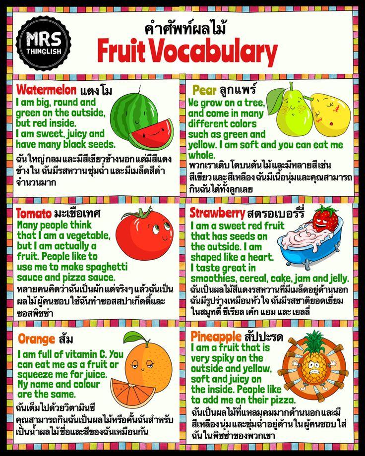 Fruit Vocabulary คำศ พท ผลไม เร ยนภาษาอ งกฤษ ประเภทคำ ภาษาอ งกฤษ