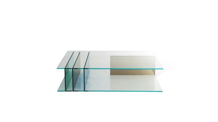 Cocktail table in glass with base and top in 12mm-thick extra clear glass and 4 vertical glass legs (2 col. Bronze, 1 col. green and 1 col. dark ...