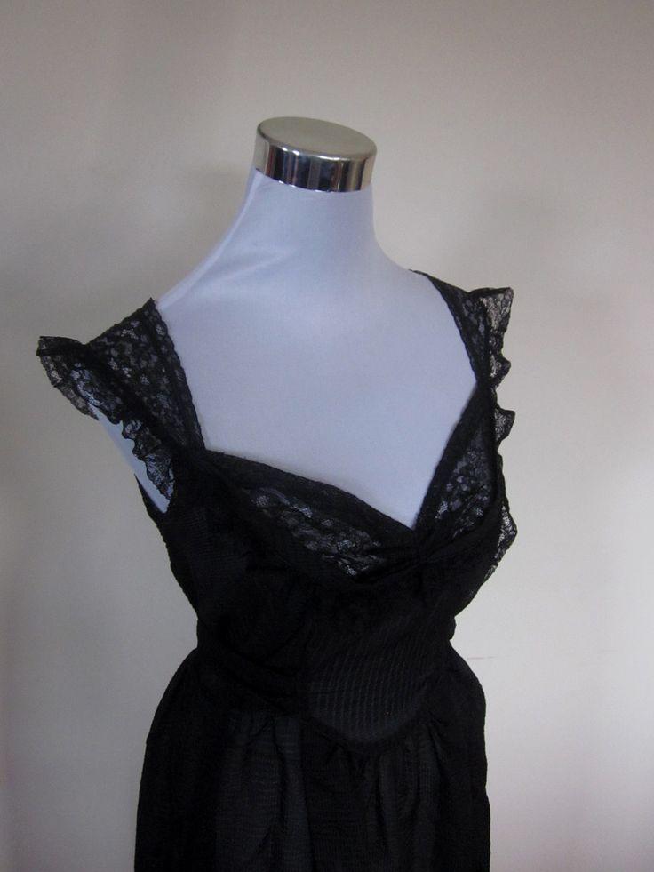 VINTAGE genuine rare 60s/70s black sheer lace detail night gown sleep wear (equiv. sz usa 10/ uk nz au 14/eu 42) by shopblackheart on Etsy