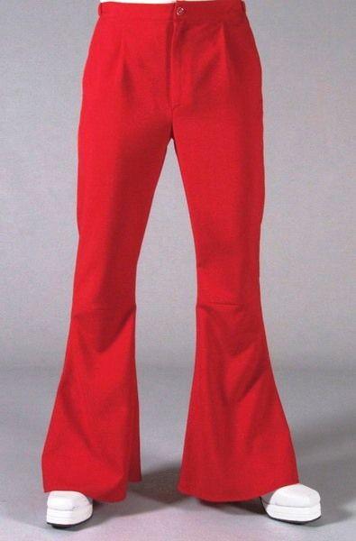 Vintage Pantaloni uomo Figli dei fiori rossi audaci per gli anni 70 Rock dei giovani Hippy vestiti spettacolo esibizione fisica delle gambe fasciate esaltate dalla zampa larga Gabardine 100% polyester Tasche laterali e dietro applicata