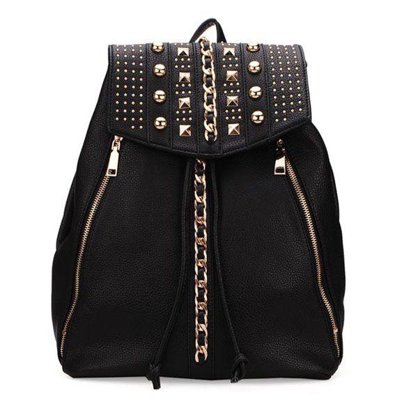 Sale 11% (30.28$) - Women Rivet Backpack Casual Shoulder Bag Laides Drawstring PU Leather Backpack