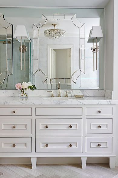 Master bathroom vanity and mirrors Add brass hardware