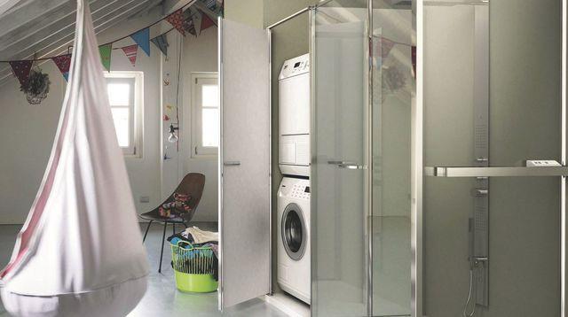 Installer lave linge dans la salle de bains buanderie for Lave linge dans salle de bain norme