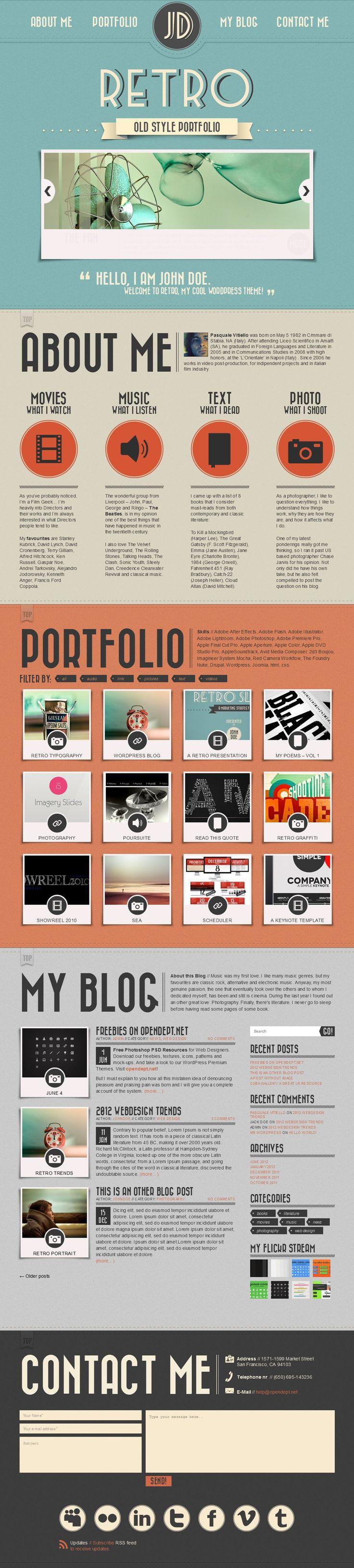 """""""Retro Portfolio"""" is The One Page Vintage WordPress Theme."""