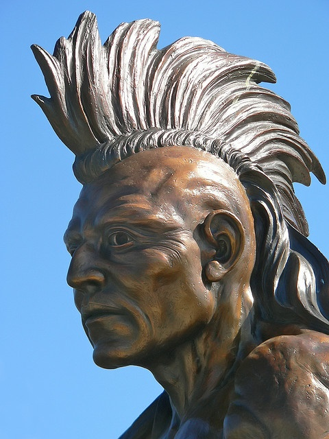 Bronze Sculpture of Native American and Fur Trapper outside of Cabelas Outdoor Outfitters in Hamburg Pennsylvania (3) by mharrsch, via Flickr