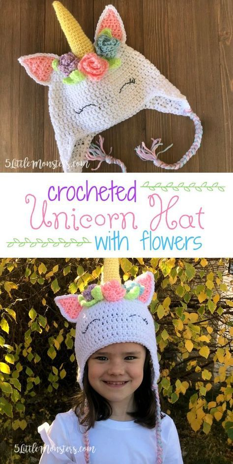 A free pattern for an adorable crocheted unicorn hat with flowers and  leaves surrounding the horn. f359808a79c
