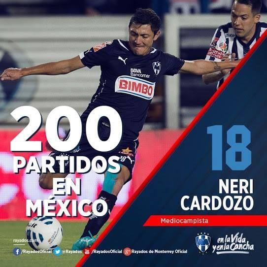 Hoy se cumplen 200 partidos de Neri Cardozo en México. #OrgulloDeRayados.
