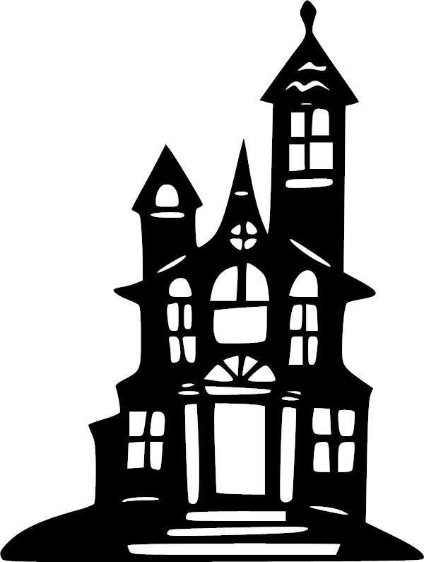 spooky house halloween vinyl decal vinyl decal. Black Bedroom Furniture Sets. Home Design Ideas