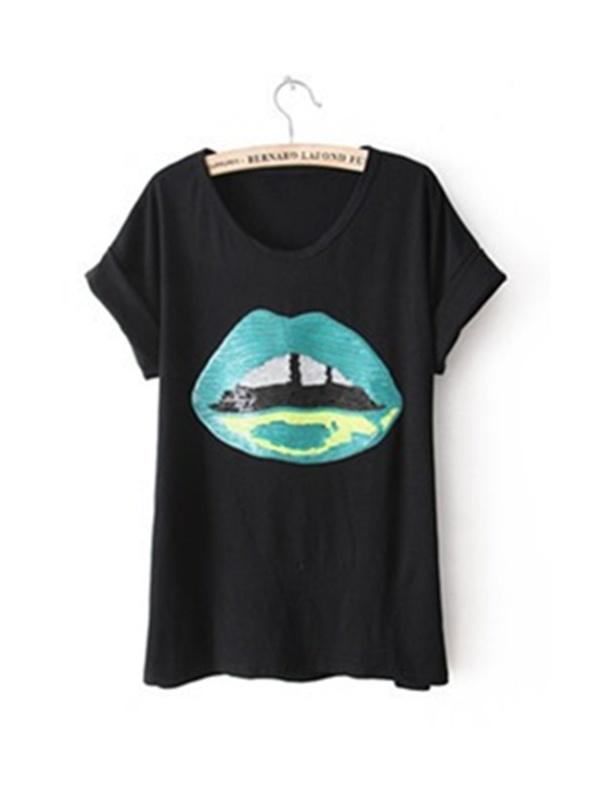black short sleeve red mouth print T-shirt -