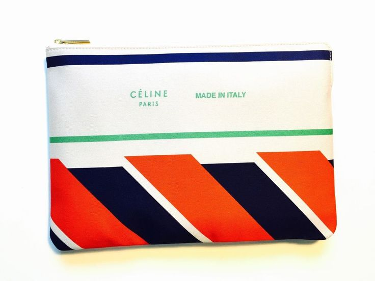 Celine ivory/red/blue clutch pouch bag