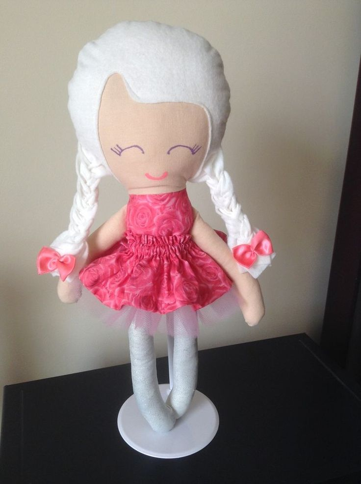 Handmade Pink Rosie Doll with Rose dress and white Tutu skirt