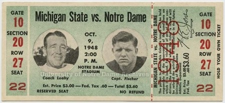 Tickets Through The Years // 125 Football // University of Notre Dame