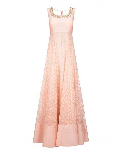 Blush Peach Anarkali Suit with Sequins - Sawan Gandhi - Designers