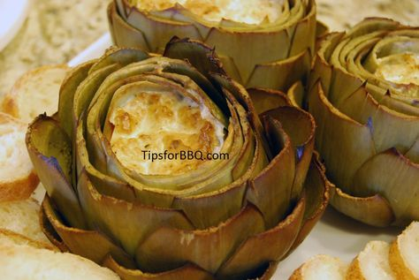 Smoked stuffed artichokes.