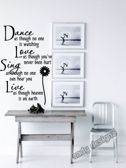 Dance Love Sing Live Vinyl Wall Decal  Girls Room by CadyDesignz, $24.99