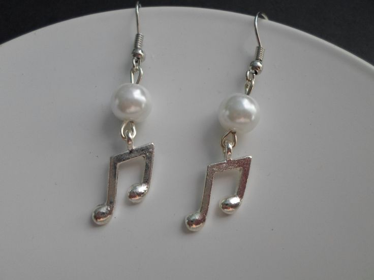S A L E!!! Music note earrings with beads. by SiDaStyle on Etsy