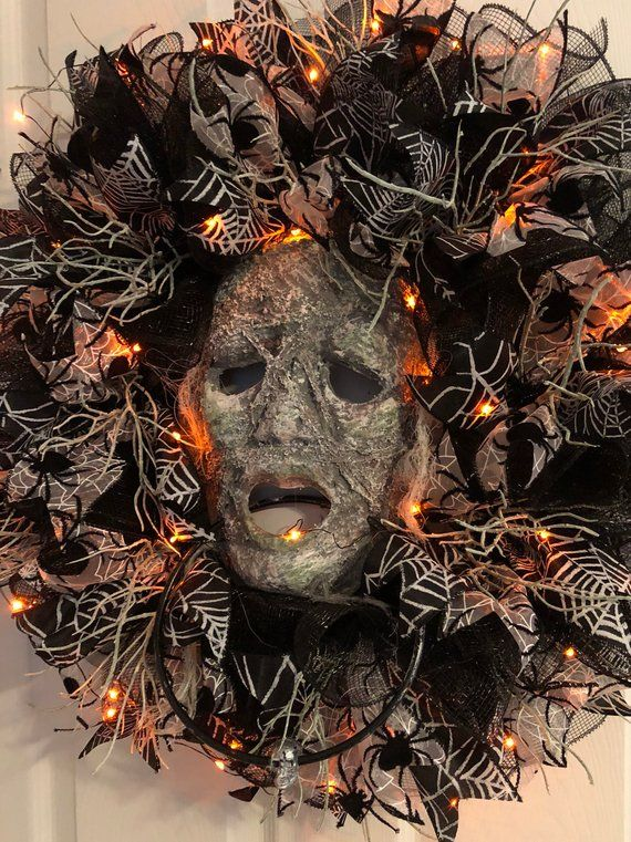 LIGHTED Halloween Wreath, Mummy Wreath, Spooky Wreath, Autumn Wreath