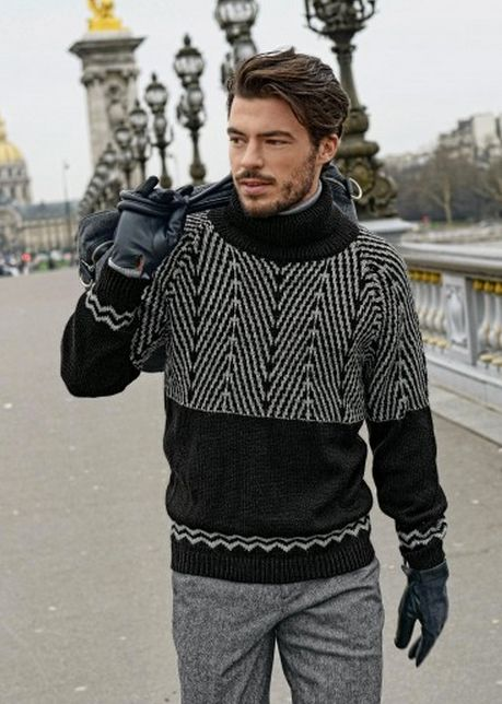 #695 Men's Jacquard Sweater, Fall/Winter 13-14 (Bergere de France French knitting/crochet). Made in BDF Barisienne.