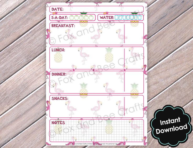 Flamingo and Pineapple Tropical Printable Daily Food Sheets | Food Diary | A5 Size | Slimming World | Weight Watchers | Flamingo Design 03