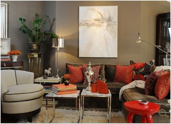 Red Brown And Taupe Living Room   Brian Dittmar Designs Photo
