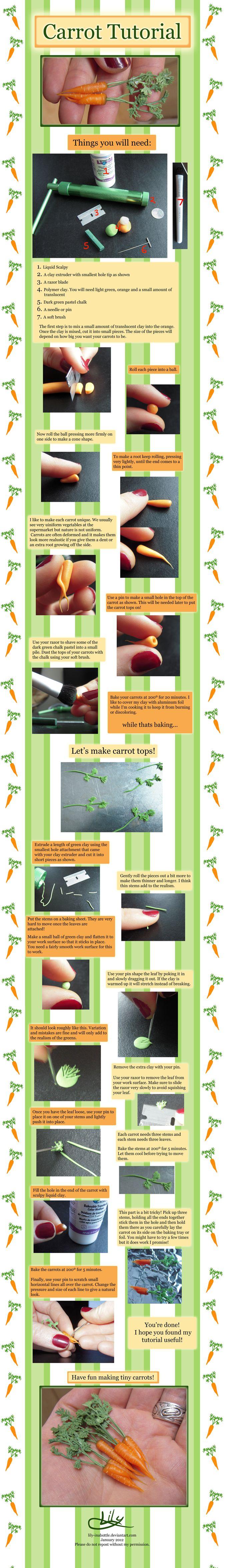 Turorial : How to make a carrot in polymer clay / Tutoriel : Réaliser une carotte réaliste en pâte polymère (cliquez sur l'image pour agrandir)