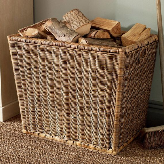 Step 1: Stockpile wood for the fire in a handsome rattan basket. #fireside #oka