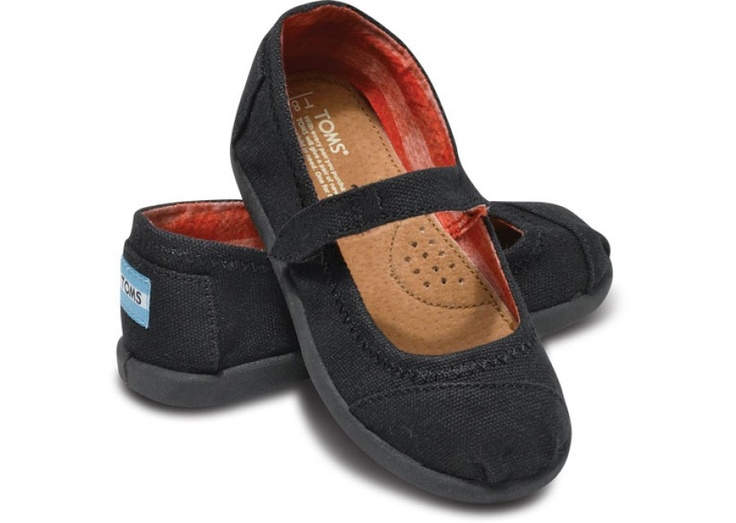 I know a certain little person who will have a pair of these SOON. Black Canvas Tiny TOMS Mary Janes hero