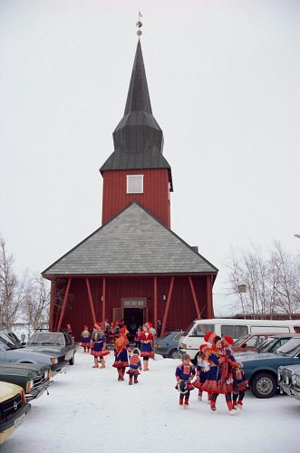 Sami leave the church at Kautokeino after a wedding. Sapmi. North Norway.: Kautokeino, Norwegian Lapland.