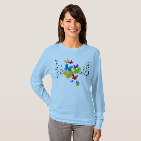 Music Notes and Butterflies T-Shirt - click/tap to personalize and buy