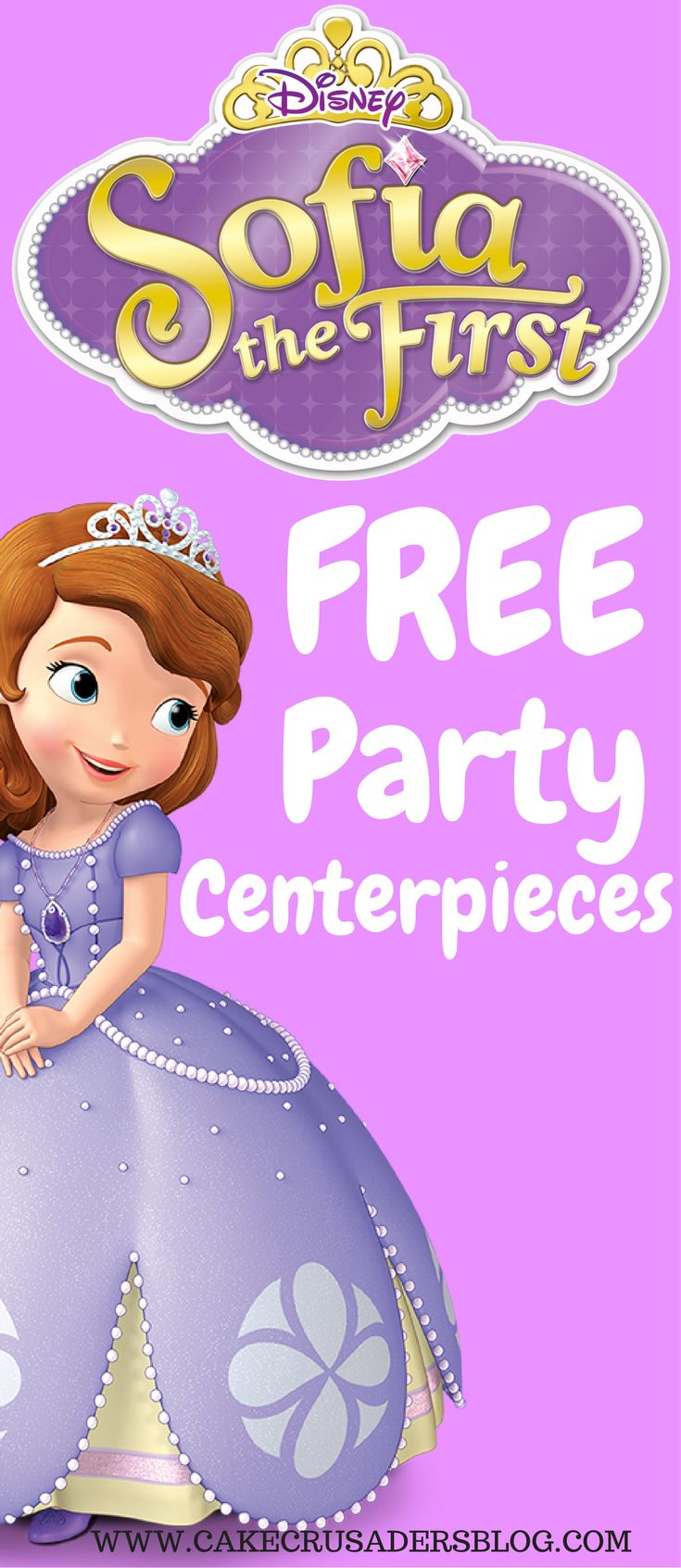 Check out these Free DIY Sofia the First Character Birthday party ideas centerpieces!  These are awesome as table decorations.