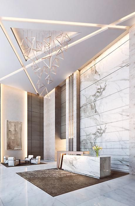 Lobby decor always need a luxurious suspension lamp. Discover more luxurious interior design details at luxxu.net