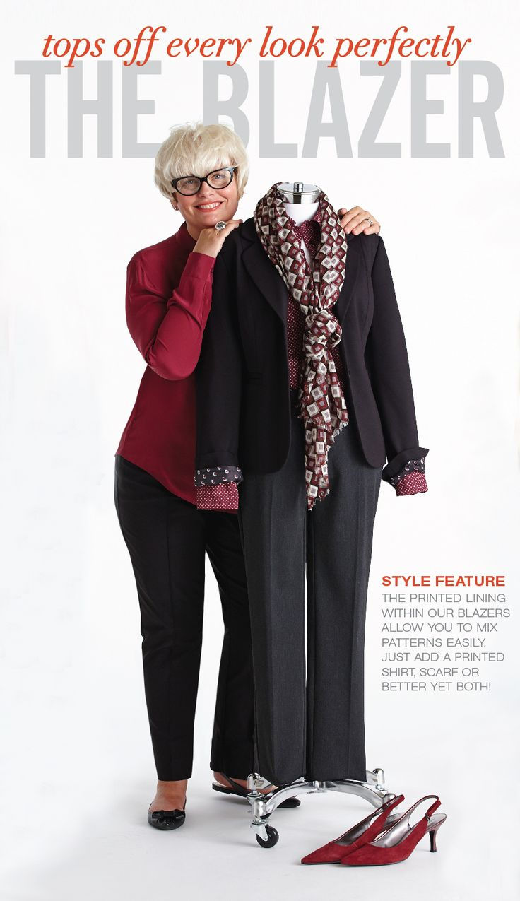 "Cleo Fall Style with Lynn Spence: Style Feature ""The printed lining within our blazers allow you to mix patterns easily. Just add a printed shirt, scarf, or better yet, both!"""