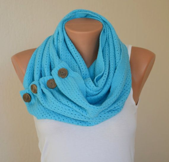 Turquoise knit button infinity scarf circle scarf winter scarfs neck warmer cowl birthday gifts women's accessory fashion scarves on Etsy, $28.00